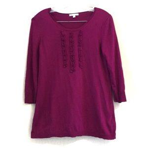 Gap Magenta 3/4 Sleeve 100% Cotton Sweater